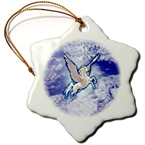 orn_799_1 Mythical - Pegasus - Ornaments - 3 inch Snowflake Porcelain Ornament