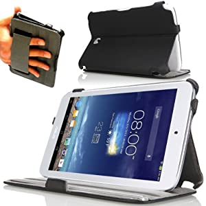 Navitech Black Leather Casae Cover For The Asus Memo Pad 8 ME180A