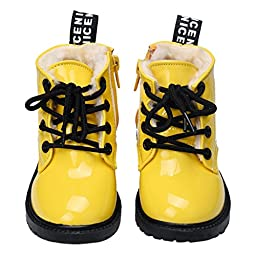 Infant Baby Shoes Mosunx(TM) Leather Ankle Boots Toddler Prewalker (22, Yellow)