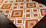 Jill Rosenwald by Surya Fallon FAL-1086 Flatweave Hand Woven 100% Wool Orange-Red 2'6 x 8' Geometric Runner