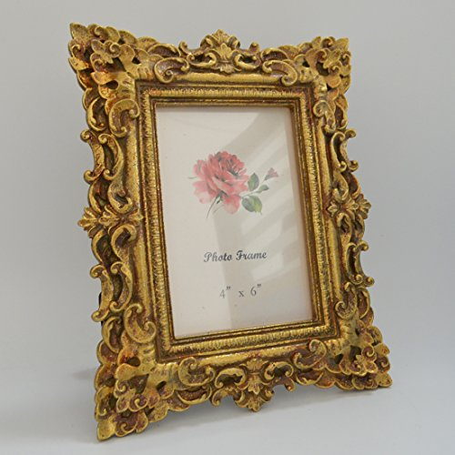 Gift Garden Friends Gift Gold Vintage Picture Frame 4 by 6 -Inch in hand Painted for Photo Display 4x6