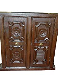 Floral Carved Wooden Antique Window Frame India Furniture