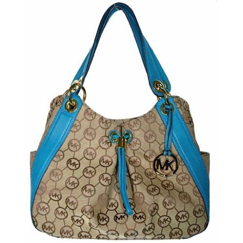 Michael Kors Monogram Signature LUDLOW Large Shoulder Tote Bag Handbag   Beige / Black