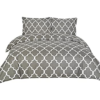 Duvet Covers (Queen, Grey) 3 Piece Set - Duvet Cover & 2 Pillow Shams Hotel Quality Brushed Microfiber - by Utopia Bedding