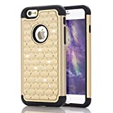 img - for iPhone 6s Plus Case iPhone 6 Plus Case,Jaweke Soft TPU Hard Plastic Heavy Duty Shock Proof Studded Rhinestone Crystal Bling Diamond Hybrid 2-Layer Armor Defender Case For iPhone 6 Plus(Gold/Black) book / textbook / text book