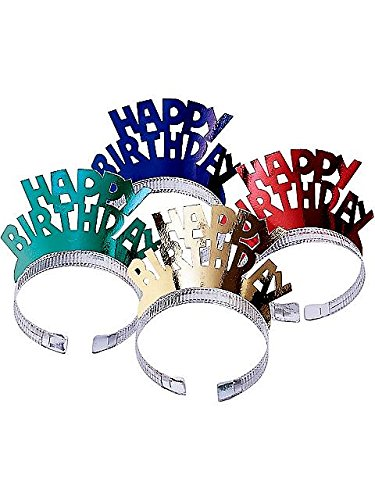 Happy Birthday Foil Tiaras (4ct)
