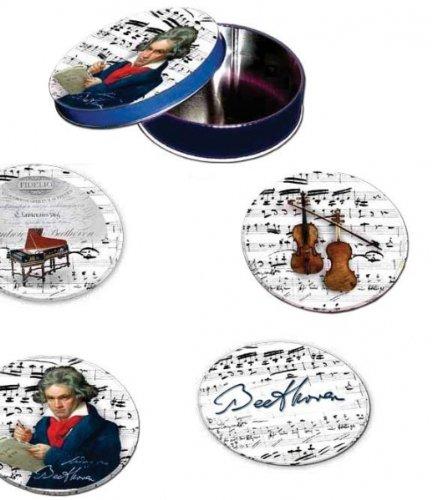 4 Untersetzer für Gläser, Design: Beethoven - Metall / Kork