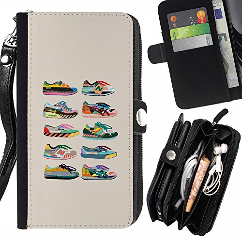 RenCase / PELLE FLIP CUSTODIA CASE PROTEZIONE COVER per HTC One M9+ (M9 Plus) - Scarpe Sneakers Fashion Design beige Grafico