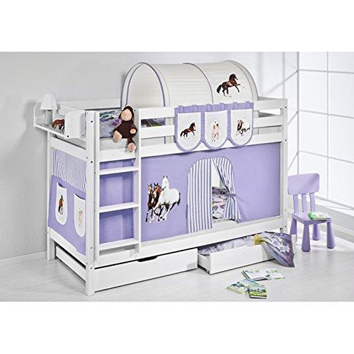 Etagenbett JELLE Pferde Lila Beige, mit Vorhang, weiß, Variante 7