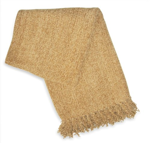 Jovi Home Diva Chenille Hand Woven Throw 50-Inch-By-60-Inch, Gold (Light Mocha)