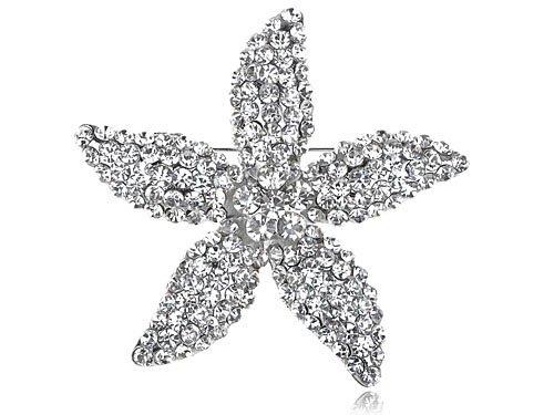 Star Lily Clear Crystal Rhinestone Fashion Flower