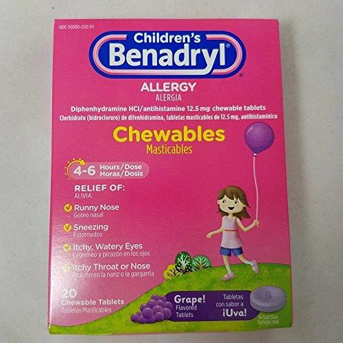 Benadryl Children's Allergy Chewables, Grape, 20 Count (4 Pack) (Benadryl Children Grape compare prices)