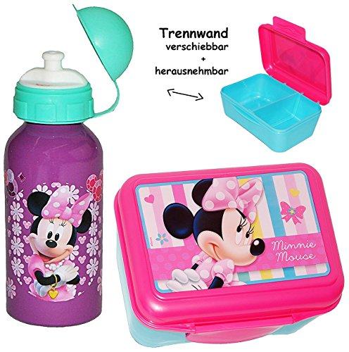 2-tlg-Set--Lunchbox-Brotdose-Trinkflasche-Disney-Minnie-Mouse-mit-extra-Einsatz-herausnehmbarer-Trennwand-Brotbchse-Kche-Essen-fr-Mdchen-Playhouse-Kinder-Vesperdose-Brotzeitdose-Schmetterling-Maus-Pin