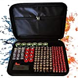 Fireproof Battery Organizer Storage Bag, Fireproof Waterproof Explosion-Proof Holds 182 Batteries AA AAA C D 9V,with Battery Tester BT-168 (Batteries are Not Included) (Color: Black, Tamaño: L)