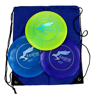 Kestrel Disc Golf Pro Set   3 Disc Pro Pack Bundle + Bag   Disc Golf Set   Includes Distance Driver, Mid-Range and Putter   Frisbee Golf Set