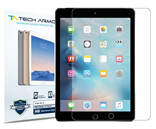 Tech Armor Apple iPad Air 2 / iPad Air (first generation) High Defintion (HD) Clear Screen Protectors -- Maximum Clarity and Touchscreen Accuracy [2