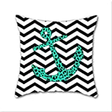 Cotton Linen Throw Pillow, Decorative Pillows.? Mint Leopard Chevron Anchor Cotton Linen Square Decorative Throw Pillow Case Cushion Cover 18 x 18 Inch