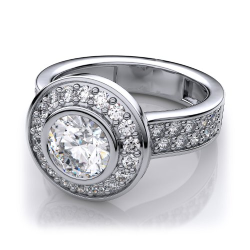 14k White Gold Modern Bezel Set Diamond Engagement Ring with Sidestones. (1.84ctw) SI1-SI2