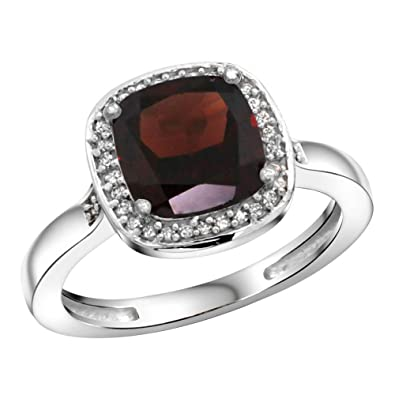 Revoni Sterling Silver Garnet & Diamond Ring, Checkerboard Cushion Stone (8 mm)
