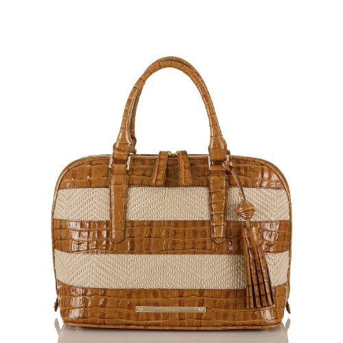Vivian Dome Satchel<br>Whiskey Raffia Vineyard