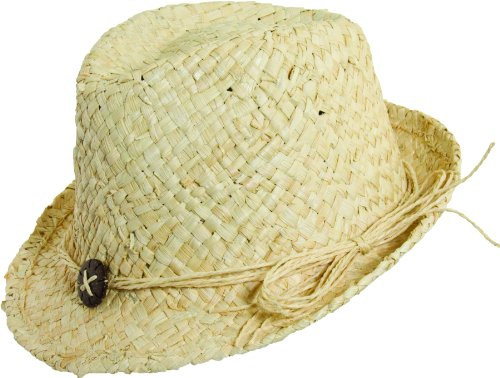 SCALA PRONTO MAIZE FEDORA WITH HEART TRIM (Natural) (Maize Fedora Hat)