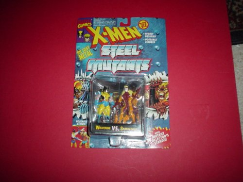 Wolverine vs Sabretooth - Die Cast Metal Figures - 1994 - Poseable - Mutant Collector Stand - Highly Detailed - Toy Biz - Marvel - Limited Edition - Collectible - 1