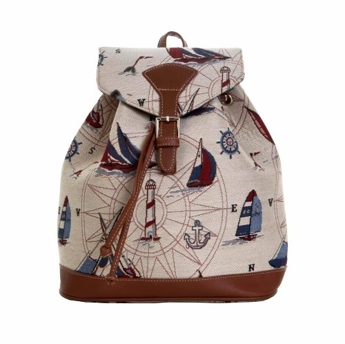 Women's Small Rucksack Backpack Fashion Canvas Bags The Wind Traveller/ Sailboats