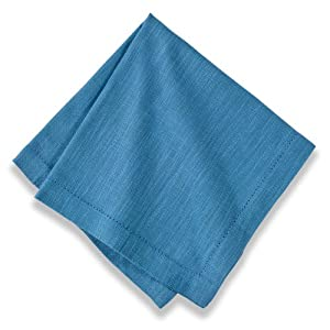 Couleur Nature Hemstitch Sea Blue Napkins, 22-inches by 22-inches, Set of 4