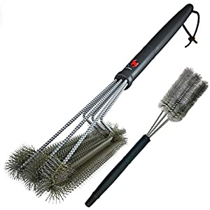 "360° CLEAN GRILL BRUSH By Kona(TM) - 18"" Best BBQ Grill Brush - 3 Stainless Steel Brushes In 1 Provides Effortless Cleaning - FREE 5 YEAR REPLACEMENT - Great BBQ Accessories Gift - Stiff Light Weight Design - Perfect For Weber, Char-Broil, Porcelain & In"