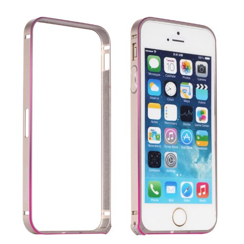 Moon Monkey Lightweight Luxury Slim Metal Frame Bumper Protective Case For Iphone 5S 5 (Mm416) (Gold+Pink)