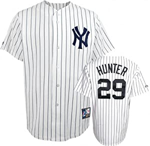 Catfish Hunter New York Yankees Pinstripe Cooperstown Replica Jersey by Majestic