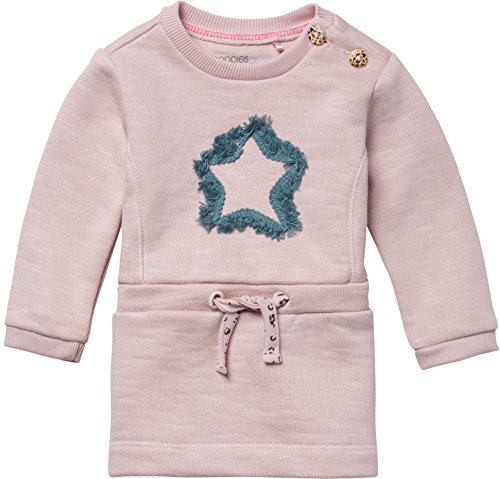 Noppies Baby-Mädchen Kleid G Dress Sweat Ls Clovis, Rosa (Blush C093), 80