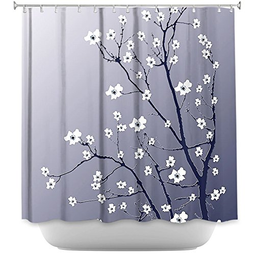 DiaNoche Designs Shower Curtains by Arist Monika Strigel Unique, Cool, Fun, Funky, Stylish, Decorative Home Decor and Bathroom Ideas - Blooming Tree Blue Grey