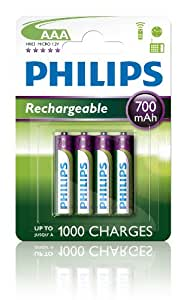 Philips R03B4A70 Batterie rechargeable 700mAh AAA 4 pièces