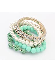 Cinderella Collection By Shining Diva Trendy Fashion Green Color Pearl Rose Flower Multilayer Charm Bracelet &...