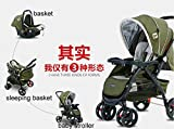 2016-New-design-high-viewpoint-Luxury-baby-stroller-3-in-1-single-seat-baby-carriage-infant-cart-Green