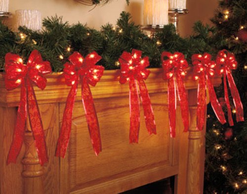 Red Lighted Fireplace Garland With Red Bows