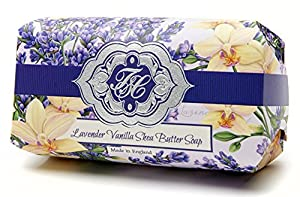 Lavender Vanilla Flowers, Luxury Large Oversized, Beautifully Scented Shea Butter Soap Bar, Made In England, Triple Milled. Environmentally Friendly (Green). 8.0oz.