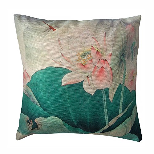 Monkeysell Lotus Leaf Butterfly Flowers Pattern Cotton Linen Throw Pillow Case Cushion Cover Home Sofa Decorative 18 X 18 Inch (S042B6) (Extra Large Sofa Cushions compare prices)