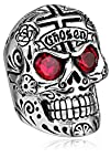 King Baby Mens Large Skull Ring with Chosen Cross Detail