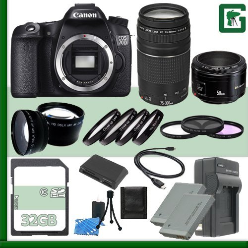 Canon EOS 70D Digital SLR Camera + Canon EF 75-300mm III Lens + Canon 50mm f/1.8 Lens + 32GB Green's Camera Package (Canon Eos 50d Digital compare prices)