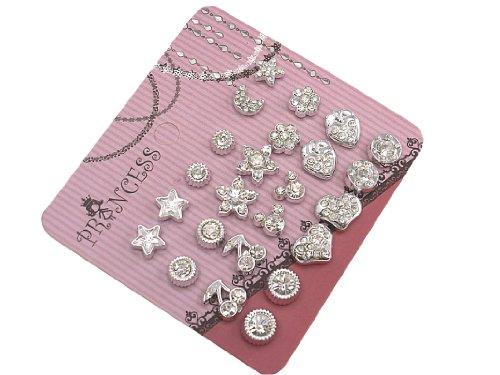 Pack of 12 Clear Crystal Magnetic Stud Earrings for Girls Kids Women