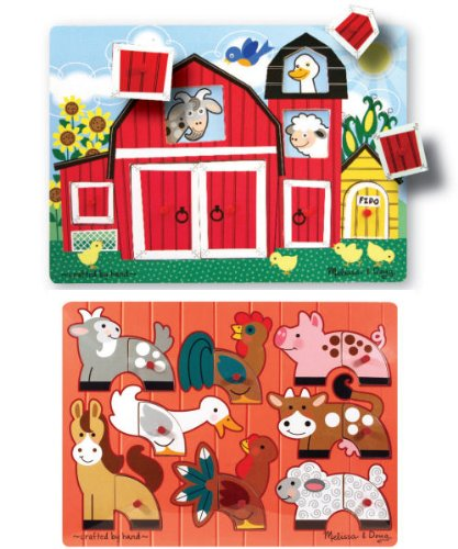Cheap Fun Melissa & Doug Deluxe Peek-a-boo Farm and Mix n' Match Peg Puzzle Bundle (B001IUNTBS)