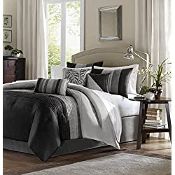 Madison Park Amherst Comforter Set, Queen, Black/Grey