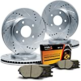 Max KT064913 Front + Rear Silver Slotted & Cross Drilled Rotors and Ceramic Pads Combo Brake Kit