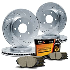 Max KT032113 Front + Rear Silver Slotted & Cross Drilled Rotors and Ceramic Pads Combo Brake Kit