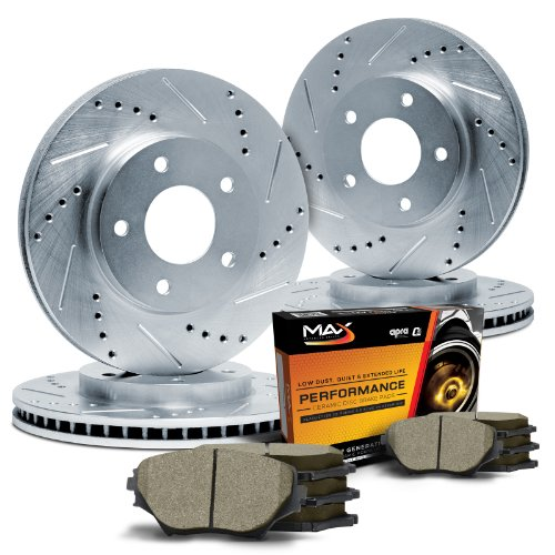 05-10 VW Jetta 2.5 Cross Drilled Slotted Brake Rotors Brake Premium Pads F+R Set
