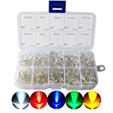 3mm and 5mm Assorted Clear LED Light Emitting Diodes 5 Colors Pack of 300
