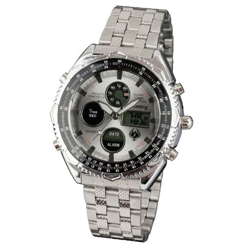 INFANTRY Mens Digital LCD Analogue Combi Wrist Watch Sport Silver Date Day Alarm Stainless Steel Bracelet Strap #IN-016-S-S