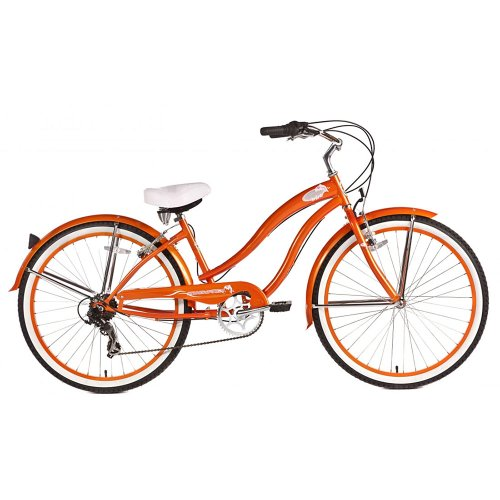 Micargi Rover 7-Speed Beach Cruiser Bike, Orange, 26-Inch
